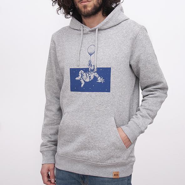 Sudadera orgánica de color gris con capucha para hombre