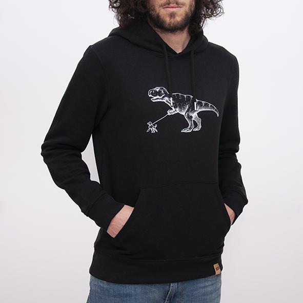 sudaderas orgánicas de color negro con capucha para hombre