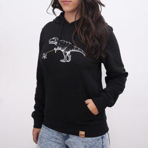 sudadera orgánica de color negro con capucha para mujer