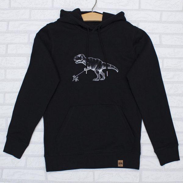 Sudadera con capucha negra orgánica, con ilustración de un dinosaurio con un perro