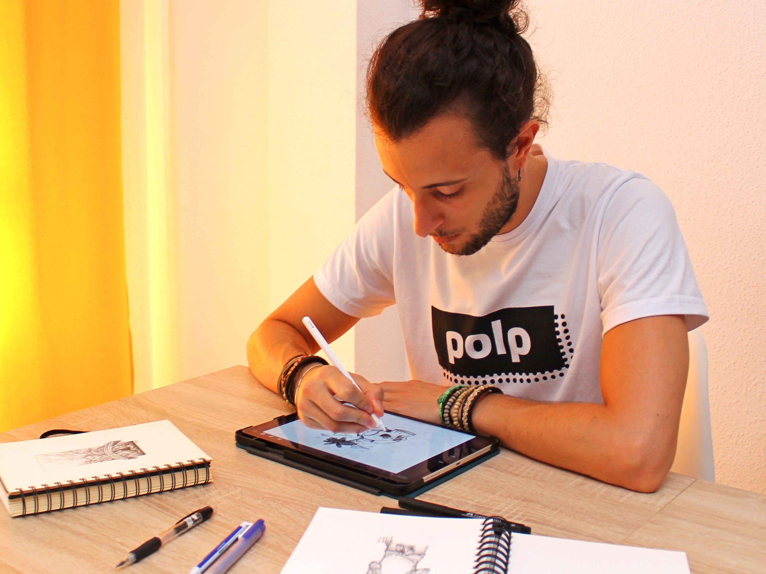 Así es Polp. creamos las ilustraciones desde cero en papel o ipad