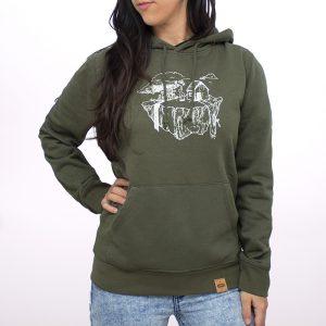 sudadera orgánica de color verde con capucha para mujer