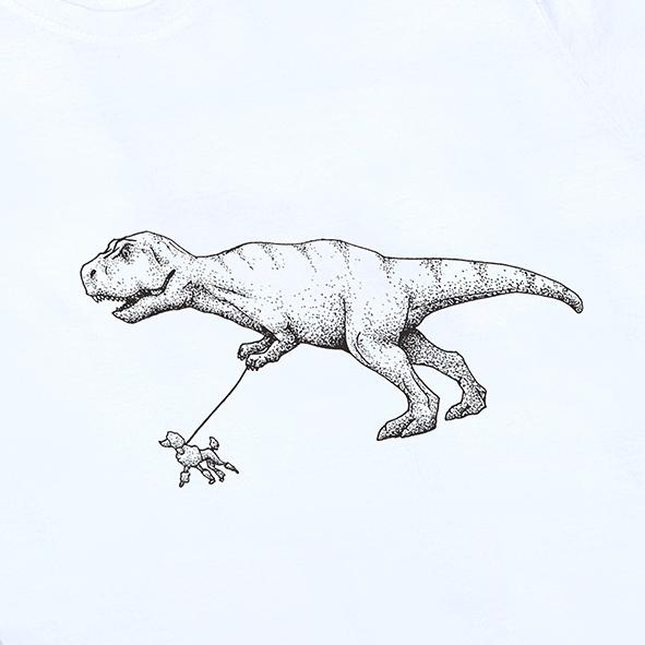 ilustración de dinosaurio paseando un caniche en color negro y serigrafiada en camiseta blanco