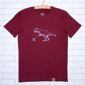 Camiseta orgánica burgundy unisex con ilustración de un dinosaurio paseando un caniche