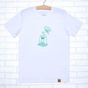 Camiseta orgánica de color blanco, con ilustración de chica y flor