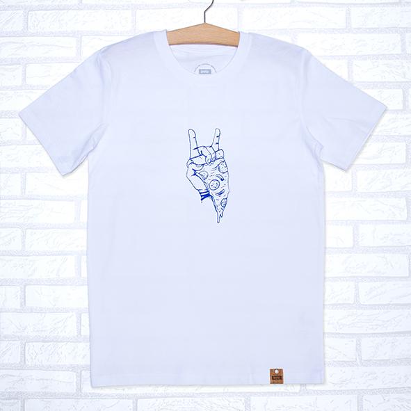 Camiseta orgánica blanca con ilustración de pizza y rock