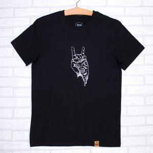 Camiseta orgánica negra con ilustración de pizza y rock
