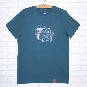 Camiseta orgánica azul unisex con ilustración de la tierra