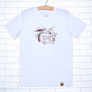 Camiseta orgánica blanca unisex con ilustración de la tierra