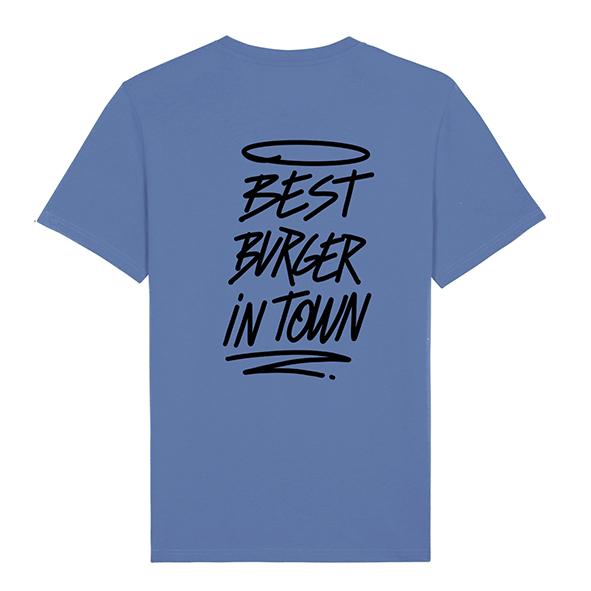 Camiseta hamburgueseria Bang Bang color azul trasera