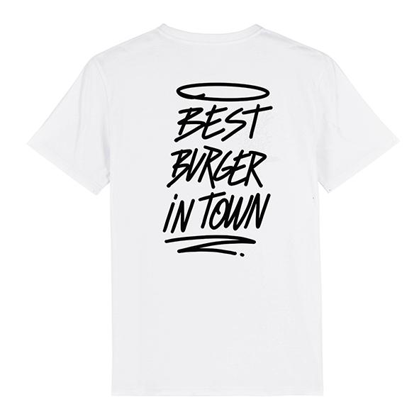 Camiseta hamburgueseria Bang Bang color blanca trasera