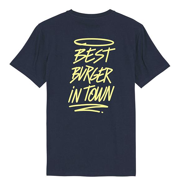 Camiseta hamburgueseria Bang Bang color marino trasera