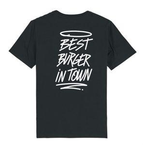 Camiseta hamburgueseria Bang Bang color negro trasera