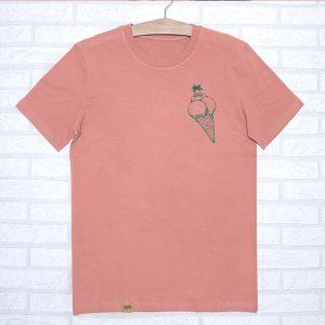 Camiseta orgánica peach unisex con ilustración de un cucurucho de helado